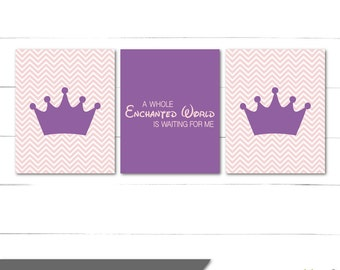 Nursery Wall Art Decor - Princess Sofia the First Inspired - Chic, Girls Room, Baby Girl, Girl Nursery, Purple and Pink - Instant Download