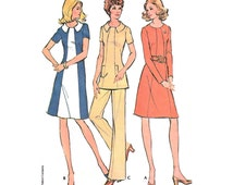 """1972 POUNDS-THINNER A-line Panel Seam Dress or Tunic, Short/Long Sleeve, 2-Piece Collar, Color Block Option, Pants, McCall's 3359, Bust 41"""""""