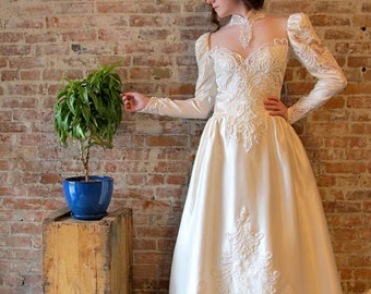 Satin Wedding Gown - Vintage - High Neck - Puff Sleeves - Pearl Beads - Train - Satin - Sheer Netting - Sequins