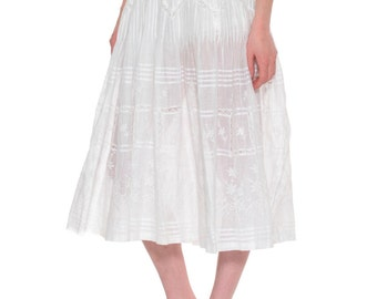 1900s Vintage Delicately Embroidered Pure White Victorian Skirt  Size: S/M/L