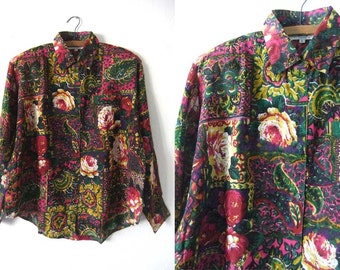Floral Print Baroque Style Long Sleeve Shirt - 90s Fresh Prince Style Button Up - Womens Large