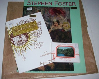 Stephen Foster Music Book & Biography Souvenir Book and Post Cards 1970's