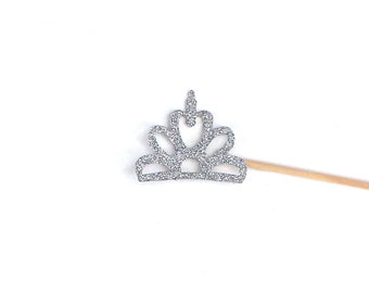 Mini Tiara Photo Booth Prop with Silver Glitter
