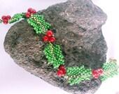 Holly Christmas Bracelet - Hand Beadwoven