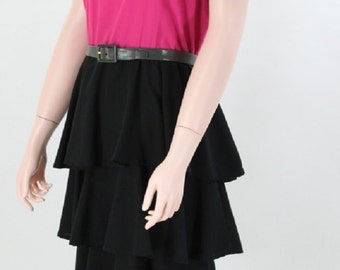 Vintage 1980s Hot Pink and Black Tiered Dress by Easy Access of California \\ Medium \\ Med \\ M \\ Party Dress \\ PRICE REDUCED!!
