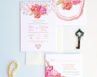 Peonies and Rose gold invitations shabby chic wedding invitations