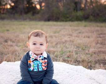 Fan Photo one 1st Birthday Shirt  for boy with multi argyle, aqua airplane, orange chevron Boy Party