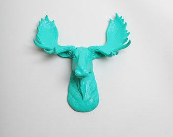 Fake Moose Head - The MINI Tiffany - Turquoise Resin Moose Head - Chic Faux Animal Wall Hanging Ornaments by White Faux Taxidermy