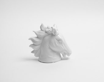 The Dax in White - Small White Faux Table Top Horse Head - Equine Art - Horse Head Sculpture - Horse Bust