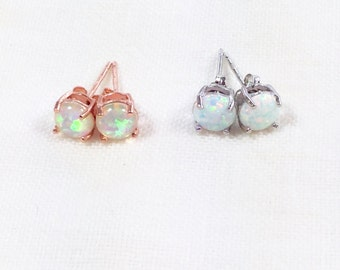 Opal Stud Earrings in Silver or Rose Gold Handmade Jewelry NorthCoastCottage
