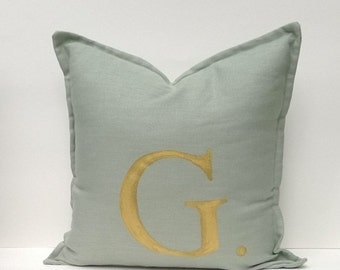 Decorative Monogrammed Pillow Cover, Variety Of Letter Colors, Soft-Green Linen, Hand-Painted Monogram 12 x 16, 16 x 16 Square, Lumbar