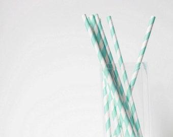 Light Blue Striped Paper Straws (25) Blue Paper Straws-Wedding Straws-Party Straws-Paper Straws- Baby Blue Decor