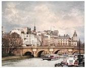 Paris print, Paris wall art, architecture art photography, large wall art, beige grey city art, living room decor, Pont Neuf, 20x24, 24x30