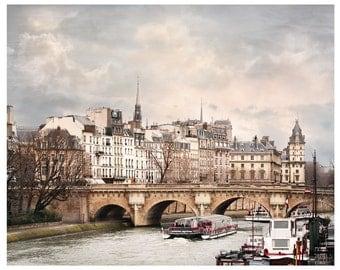 Paris print, Large wall art, Fine art photography, Paris city wall art, neutral living room decor, Pont Neuf large poster, 11x14, 24x30