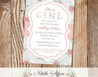 It's a Girl Shabby Chic Vintage Cottage Rustic Baby Shower Invitation - Choose your wording - colors cannot be changed