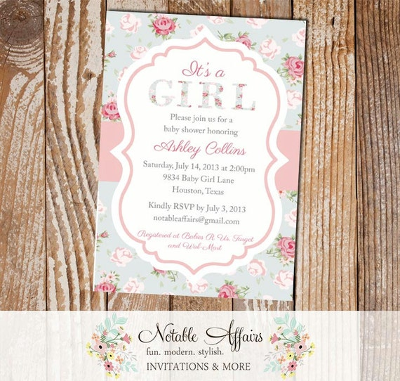 it 39 s a girl shabby chic vintage cottage rustic baby shower invitation
