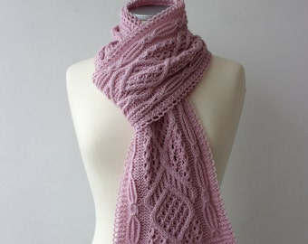 10% OFF - Powder Pink Scarf with Cable and Lace pattern, handknit winter scarf