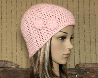 Crochet Hat, Womens Hat, Pale Pink Beanie, Crochet Wool Flower, Winter Hat, Student Beanie, Australia