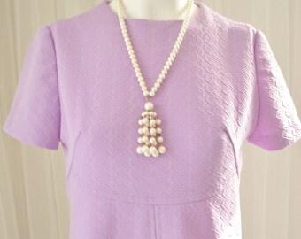 "Lavender 1970's GoGo Twiggy Mod Short Dress 36"" Bust"