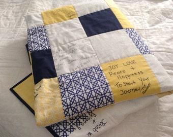 Custom Quilt- Wedding Quilt- Wedding Guest Book Signature Quilt- Wedding Memory Quilt- Handmade Quilt
