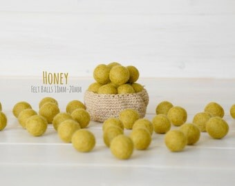 2CM Felt Balls - 100% Wool Felt Balls - 25 Wool Felt Balls (18 - 20 mm) - Color Honey-6050 - Mustard Felt Pom Pom - Dark Yello Felt Balls