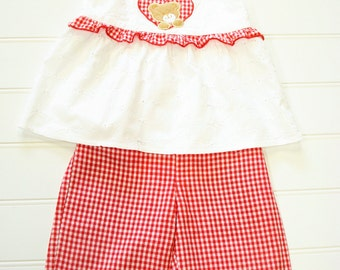 Adorable Two Piece Set By Cradle Togs, Red Gingham Pants and a White Eyelet Top, Size 18 Months. # #