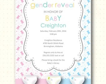 Gender Reveal Party Invitation, boy, girl, blue, pink, mint green, bears, diapers, party, digital, printable, invite GR9301