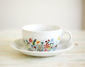 Hand painted porcelain cup and saucer - Not Only Grass - wild flowers