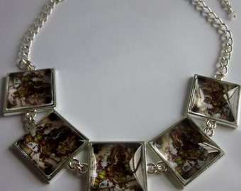 Europe map vintage style picture statement necklace with Swarovski crystal. Maps, France, Germany, UK, Spain, Italy.
