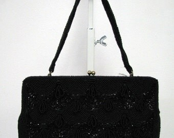 Black Beaded Evening Handbag circa 1950's Unbranded