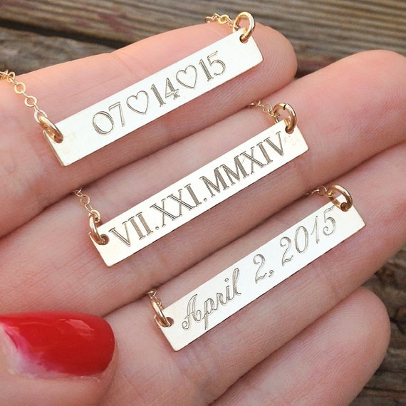 Roman Numeral Bar Necklace Wedding Date Gold by InitialNecklaces
