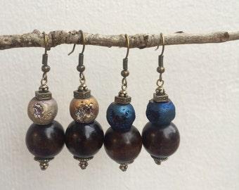 Handmade Wood and Faded Plastic Stone Beaded Earrings