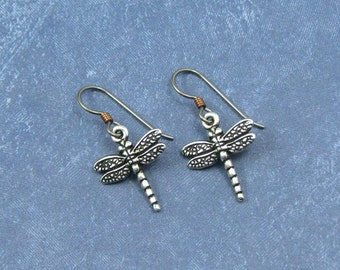 Silver Dragonfly Earrings on Hypoallergenic Ear Wires, Dragonfly charms, Dragonfly Jewelry, Gift for Her