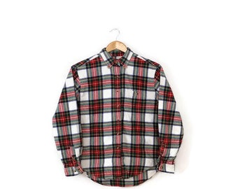 Red x White Tartan Check  Cotton Flannel shirt from 90's/grunge*