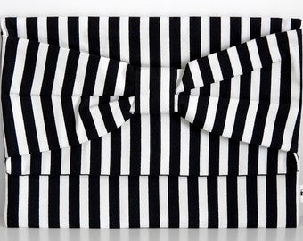 Bow Clutch, Black & White Striped With Black Interior, Clutch, Bow, Bag, Purse, Striped, Party purse,