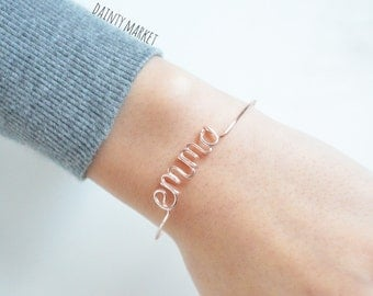 Custom Name Bracelet Bangle Personalized Wire