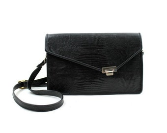 black leather cross body bag / reptile embossed leather purse