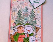 Snowy Kisses, Snow Hugs Digi stamped Tag, Gift for a girl, use as a bookmark, room decoration