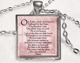 LORD'S PRAYER PENDANT Bible Quote Jewelry New Testament Necklace Lord's Prayer Necklace Christian Gift for Christian Scripture Pendant