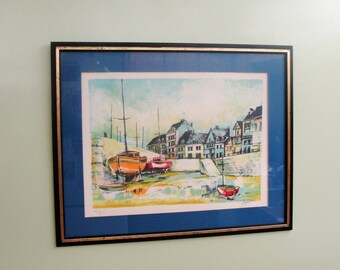 Limited Edition Framed Pierre Jacquot Nautical Lithograph, Signed 261 0f 275. Very Nice Low Run