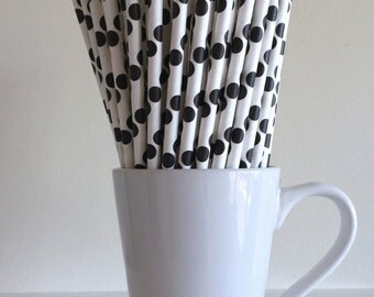 Black Polka Dot Paper Straws Party Supplies Party Decor Bar Cart Cake Pop Sticks Mason Jar Straws Graduation