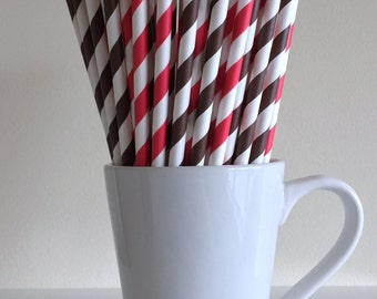 Red and Brown Striped Paper Straws Party Supplies Party Decor Bar Cart Cake Pop Sticks Mason Jar Straws Graduation