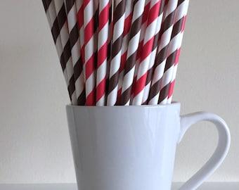Red and Brown Striped Paper Straws Party Supplies Party Decor Bar Cart Cake Pop Sticks Mason Jar Straws Graduation