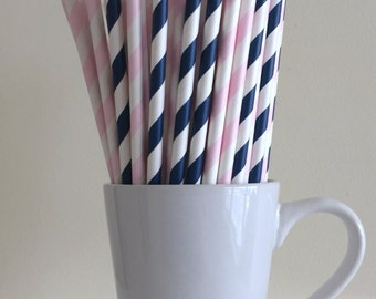Pink and Navy Paper Straws Pale Pink and Navy Blue Striped Party Supplies Gender Reveal Party Decor Cake Pop Stick Bar Cart  Party