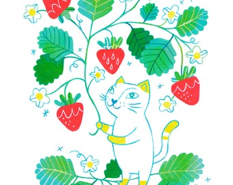 Strawberry Cat, 8 in x 10 in archival print