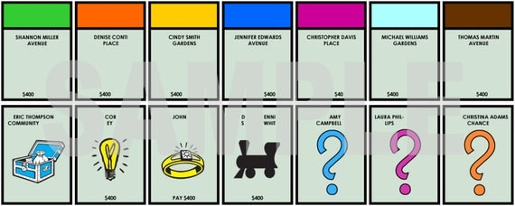 Game night personalized player place cards monopoly themed for Custom monopoly board template