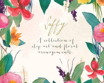 Floral Art Collection - Saffy Watercolour Clip Art