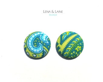 Blue and Green Paisley Fabric Covered Button Earrings
