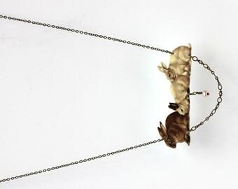 Rabbit necklace, bunny necklace, vintage necklace, rabbit jewellery, bunny jewellery, peter rabbit, vintage necklace, bunny, vintage
