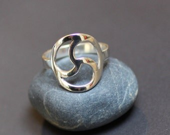 Triskele Ring Handmade Sterling Silver- Triskelion Symbol Silver Ring